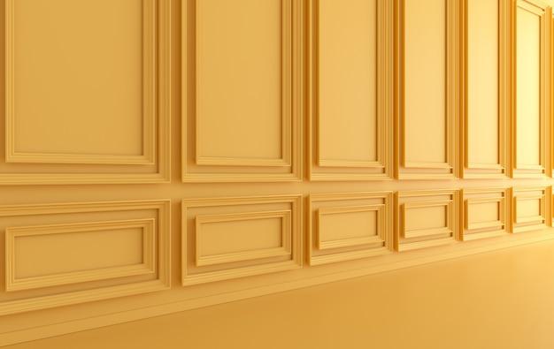 Paredes interiores clásicas con paneles de molduras ornamentados y piso de madera, cornisa clásica