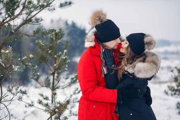 Pareja amorosa caminando en un parque de invierno