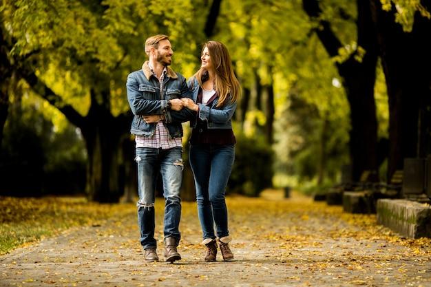 Pareja amorosa en el parque de otoño