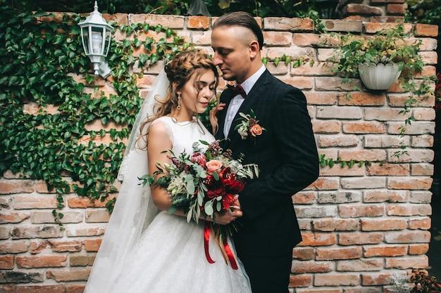 Pareja de boda en el día de la boda