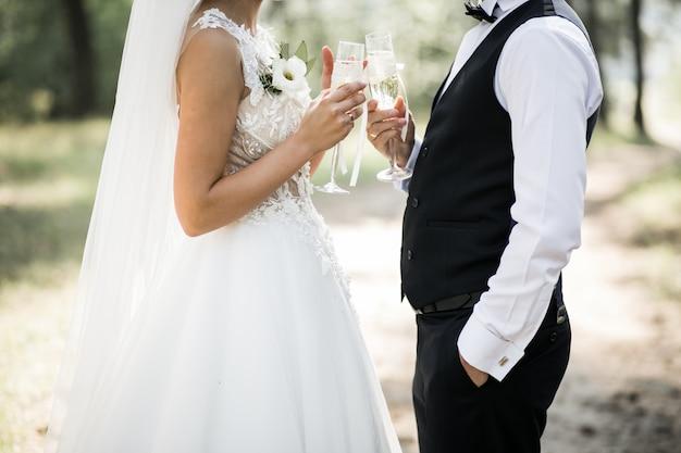 Pareja de boda en el día de su boda