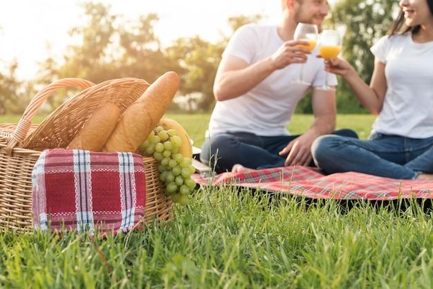Pareja brindando sobre manta de picnic