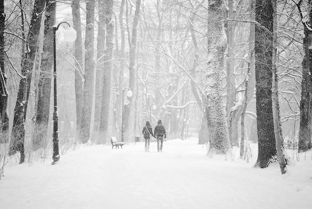 Pareja caminando por el camino cubierto de nieve bajo la nieve intensa