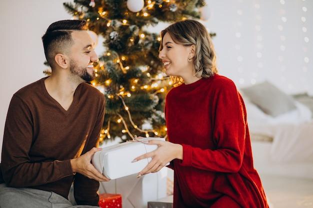 Pareja celebrando la navidad juntos