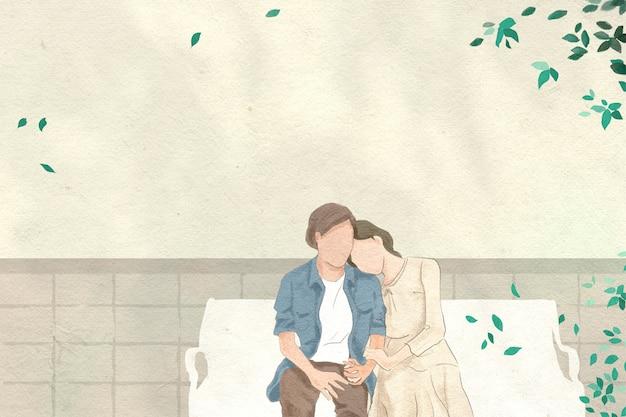 Pareja en una cita en el jardín tema de san valentín dibujado a mano ilustración