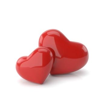 Pareja corazones con conceptos de amor. representación 3d