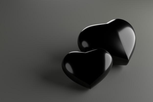 Pareja corazones representación 3d