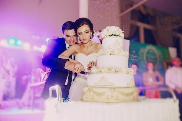 Pareja cortando el pastel de bodas