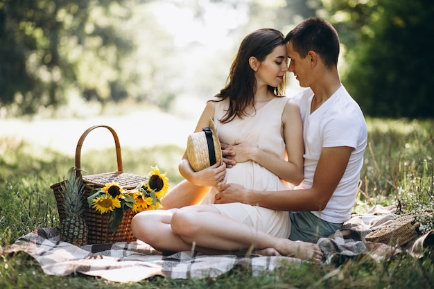 Pareja embarazada, con picnic en el parque