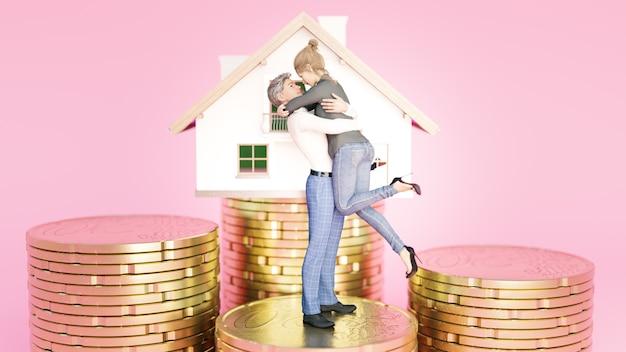 Pareja de enamorados en la pila de monedas de euro con casa