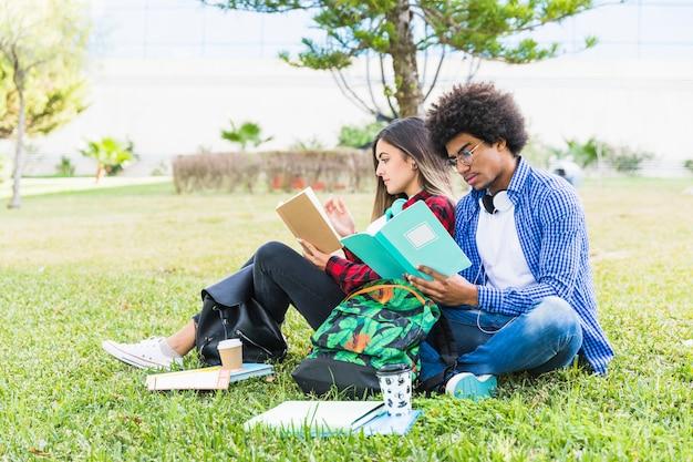 Pareja de estudiantes diversos sentados juntos en el césped leyendo el libro