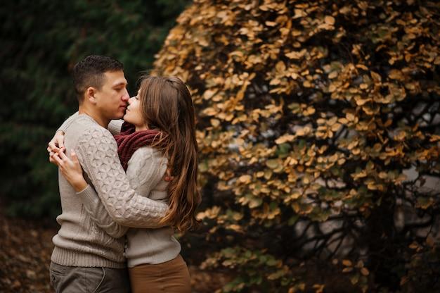 Pareja joven vistiendo suéteres calientes atados abrazando en el amor en la ciudad en otoño de fondo amarillo arbustos y árboles.
