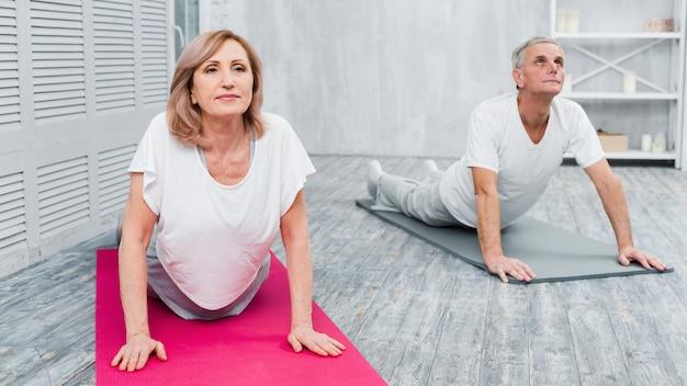 Pareja senior activa y enfocada practicando yoga juntos