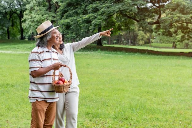 Pares mayores asiáticos con felicidad de la forma de vida de la cesta de fruta en parque.