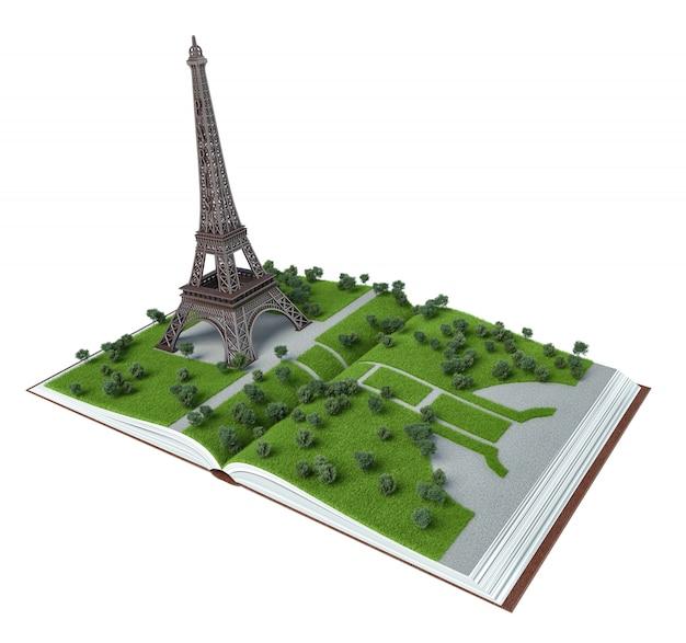 París en el libro abierto. ilustración 3d