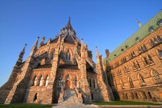 Parlamento canadiense biblioteca hdr amarillo