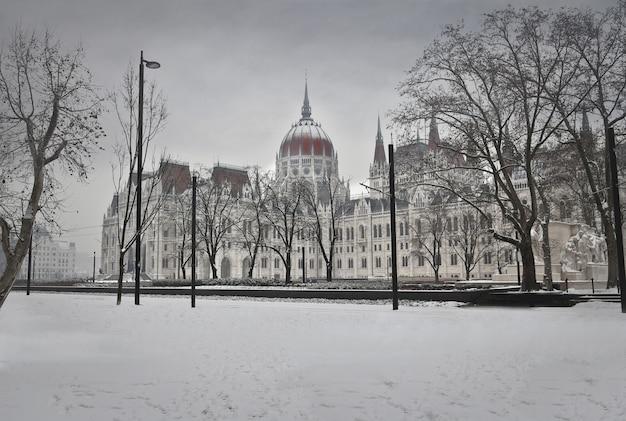 Parlamento húngaro en invierno