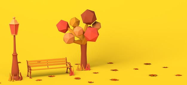 Parque en un día de otoño con el árbol caído deja un banco y un espacio de copia de la ilustración 3d de la farola