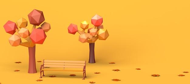 Parque en un día de otoño con hojas de árboles caídos y un banco ilustración 3d copie el encabezado del espacio