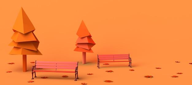 Parque en un día de otoño con hojas de árboles caídos y bancos ilustración 3d copiar el encabezado del espacio