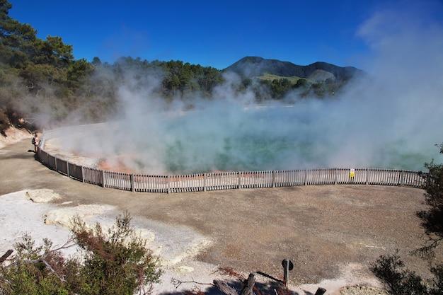 Parque geotérmico wai-o-tapu, rotorua, nueva zelanda