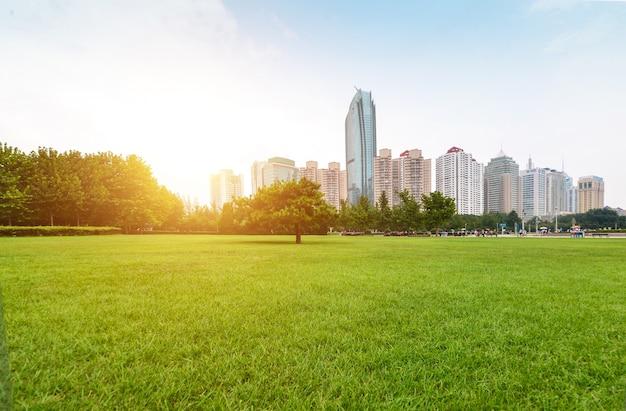 Parque junto a la ciudad al amanecer