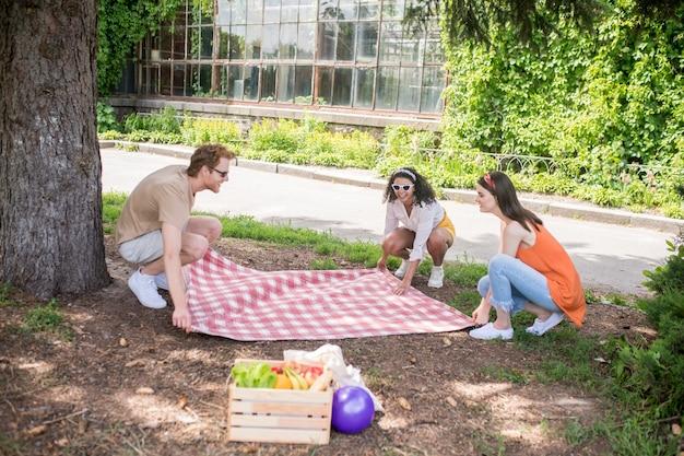 Parque, verano. tres jóvenes alegres extendiendo una manta a cuadros debajo de un árbol en el parque en un día cálido y soleado