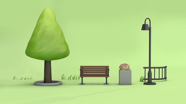 Parques verdes mínimos abstractos con la maceta de la lámpara de la silla del árbol