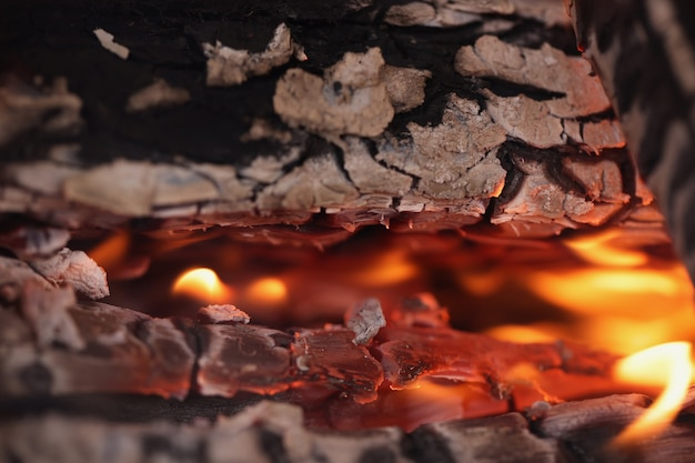 Parrilla de carbón ardiente con llama brillante de fuego hermosas formas abstractas de fuego