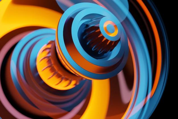 Parte del cohete en la turbina en la ilustración 3d de fondo amarillo y rosa