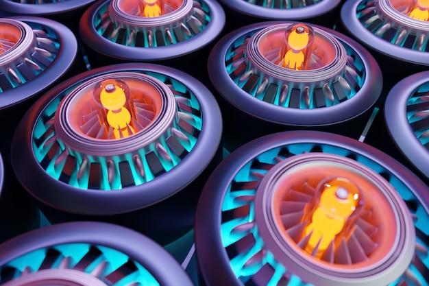 Parte del cohete en la turbina sobre fondo amarillo y rosa ilustración 3d parte futurista o
