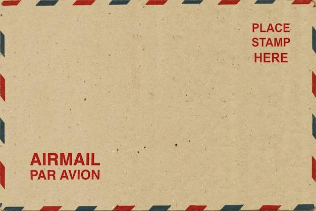 Parte posterior del correo aéreo en blanco postal.
