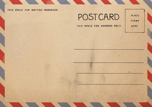 Parte posterior de la postal vintage para escribir el mensaje