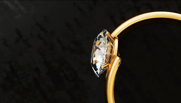 Parte realista de la vista superior del anillo de diamantes de oro colocada en la mesa brillante, renderizado 3d.