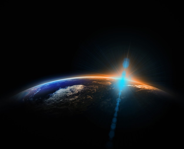 Parte de la tierra con amanecer y fondo de destello de lente, concepto de red de internet