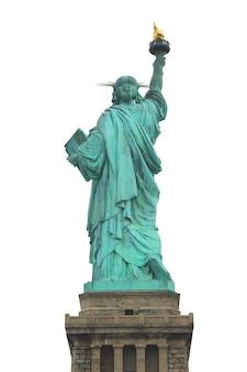 Parte trasera del estatuto de la libertad en nueva york, aislado n fondo blanco.
