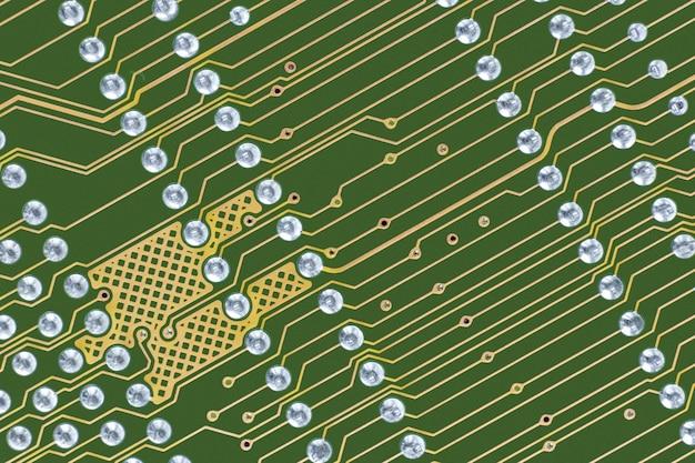 Parte trasera de la placa de circuito. fondo geométrico de tecnología de alta tecnología. cerca de una placa de circuito. vista superior.