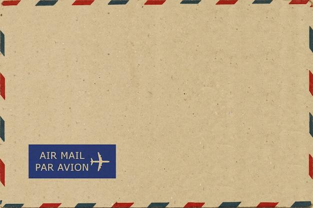 Parte trasera de la postal de correo aéreo en blanco