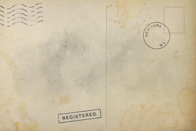 Parte trasera de la vieja mancha sucia postal
