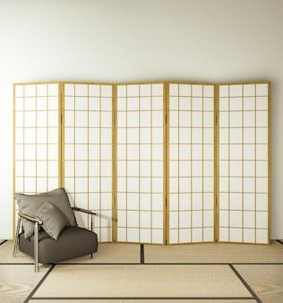 Partición de diseño de madera y sillón en el piso de tatami de la sala de estar.