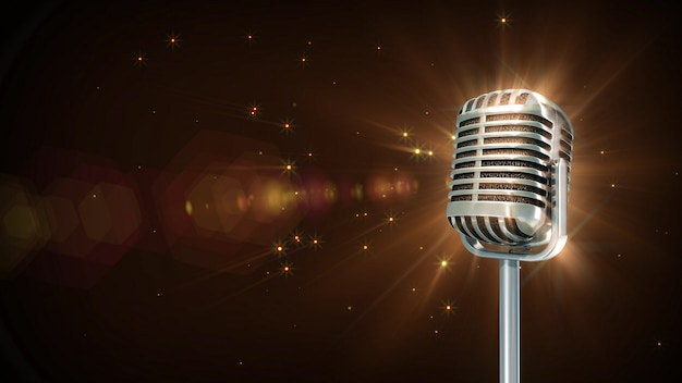 Partícula de micrófono retro