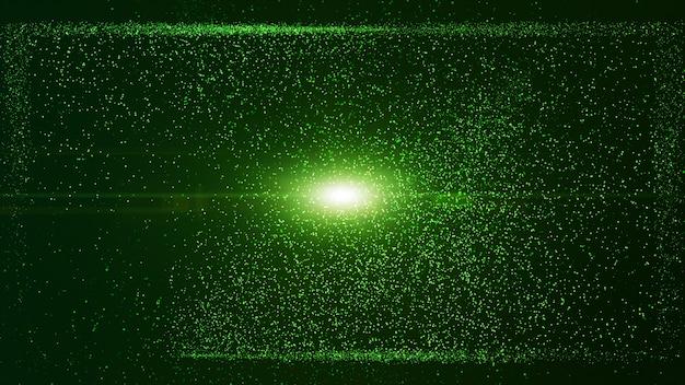 Partícula de polvo verde brillante en caja cuadrada, haz de rayos de luz de explosión.
