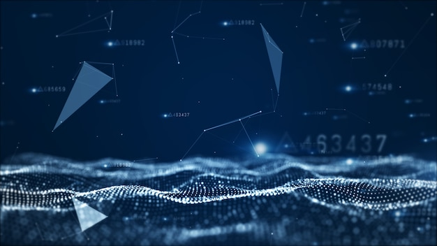 Partículas abstractas digitales y fondo de datos de red