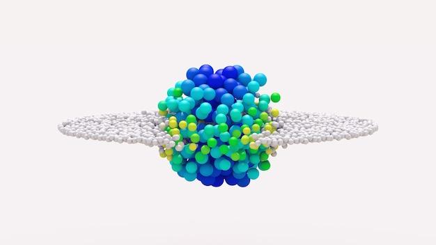 Las partículas blancas se transforman en bolas azules. ilustración abstracta, render 3d.