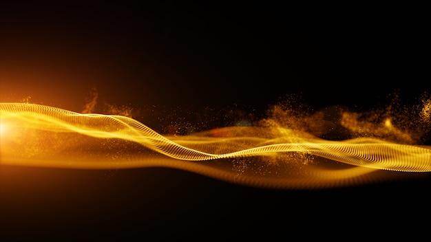 Partículas digitales abstractas de color dorado con fondo de polvo y luz
