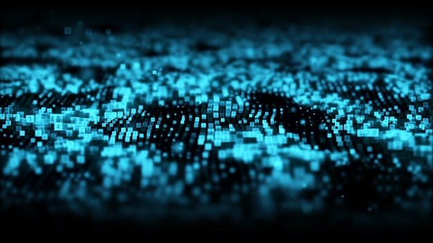 Partículas digitales de color azul abstracto con fondo de polvo y números