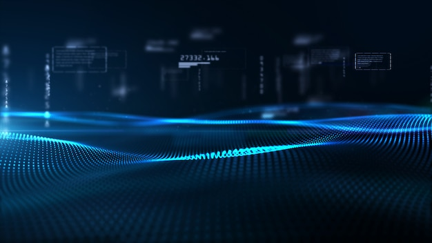 Partículas digitales de onda y datos digitales, fondo del ciberespacio digital