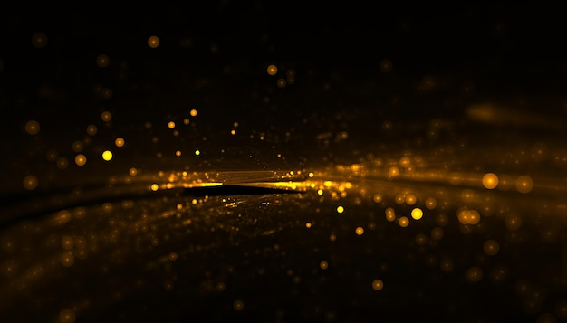 Partículas doradas brillantes con raya ligera.
