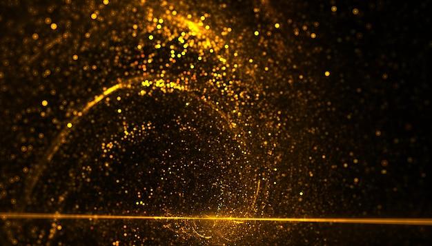 Partículas doradas que explotan energía en movimiento en espiral.