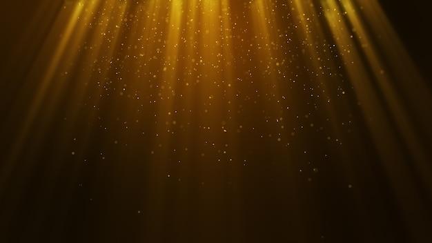 Partículas de oro amarillo oscuro forman un fondo abstracto con partículas de rayos de luz cayendo y parpadeando. representación 3d.